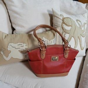 👜Tignanello Red & Tan Leather Purse